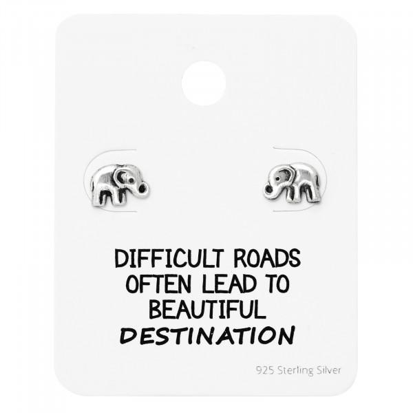 OS kleiner Elefant auf Karte 925 Silber e-coated