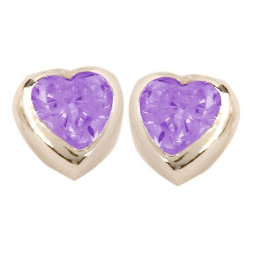 Herz Ohrstecker mit Kristall lila