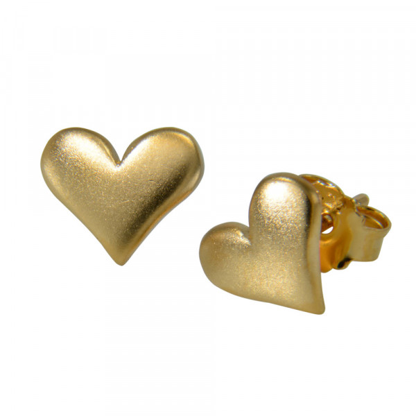 OS Herz mattiert vergoldet 10 mm 925 Silber