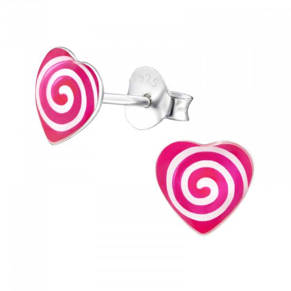 OS Button Herz pink-weiße Kreise 925 Silber