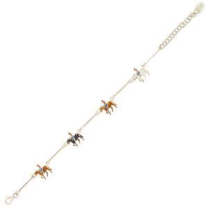 Pferd mit Mädchen Armband silber und braun