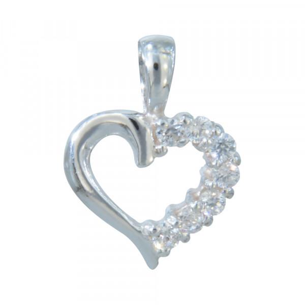 AH 925 Herz mit Kristallen an einer Seite