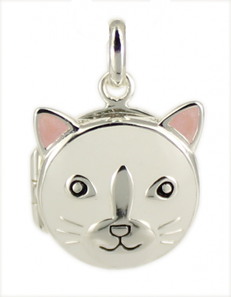 AH Medaillon Katze weiß 925 Silber