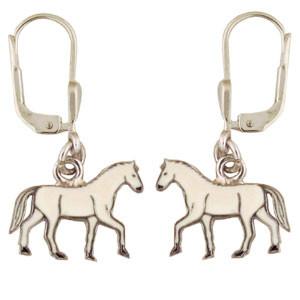Pferd Ohrhänger silber und weiß