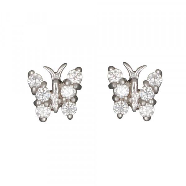 OS Schmetterling mit weißen Kristallen 925 Silber e-coated
