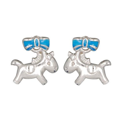 +Pferd Ohrstecker silber und blau