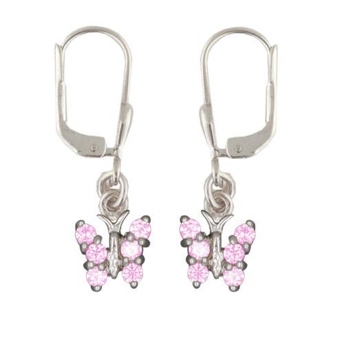 OH Schmetterling mit rosa Kristallen 925 Silber