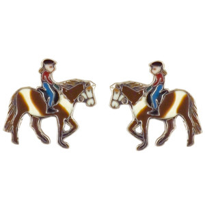 Pferd mit Mädchen Ohrstecker silber und hellbraun