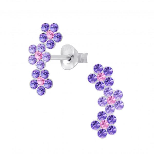 OS 3er Blüte lila/rosé 925 Silber e-coated